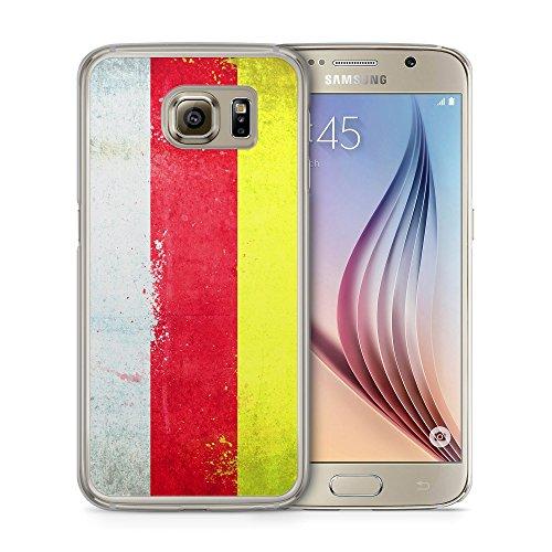 Südossetien Grunge - Handy Hülle für Samsung Galaxy S6 - Cover Hard Case Schutz Schale Flagge Flag South Ossetia