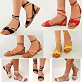 Fashion Thirsty Womens Ladies Tie Up Gladiator Flat Sandals Strappy Summer Metallic Shoes Size