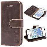 Mulbess Ledertasche im Ständer Book Case / Kartenfach für Apple iPhone SE / 5S / 5 Tasche Hülle Leder Etui,Vintage Braun