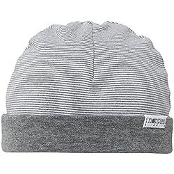 Noppies Unisex Baby Mütze U Hat REV Erin Stripe, Gestreift, Gr. One Size (Herstellergröße: 0M-3M), Grau (Anthracite Melange C247)