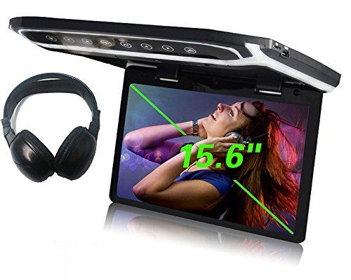 YMPA 39,6 cm 15 Zoll Inch TFT Full HD Deckenmonitor Monitor mit IR Funk Kopfhörer hohe Auflösung 1080 P mit USB Port SD Card Reader HDMI Anschluss für Bus Auto und Wohnmobil KFZ PKW LCM-FD15USB (Sd-card Reader Mit Kabel)