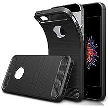 Funda iPhone SE, HICASER Durabilidad Flexible TPU Case, Carbon Fiber Antideslizante Gota Protección Rugged Armor Defensivo Carcasa para iPhone SE / 5s / 5 Negro