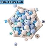 baby tete Baby Silikon Beißring Perlen 100pcs BPA Frei Essen Grade Zahnen Blaue Serie DIY Halskette/Armband Baby Schnullerkette Schmuck