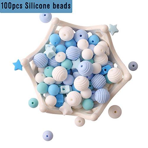 baby tete Perles de Dentition de Bébé en Silicone 100 pcs Sans BPA Dentition de Qualité Alimentaire Série Bleue Collier/Bricolage Bébé Sucette Chaîne Bijoux