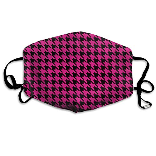 HUSDFS Mouth Maske Pink Houndstooth Anti Dust Face Mouth Cover Mask Respirator Cotton Protective Face Safety Warm Windproof Mask