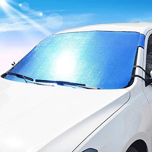 FDSEA Auto Sonnenschutz Äußere Sonnenblende Windschutzscheibe Sonnenschutz Dicke Windschutzscheibe universal unabhängig vom Modell,Blue,140cm*90cm