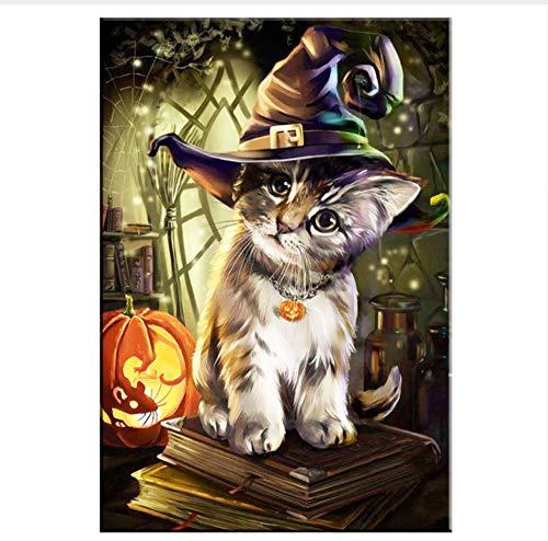 WWJXJJX Voll Bohrer 5D DIY Diamant Malerei Halloween Katze Tier Stickerei Kreuzstich Strass Mosaik Malerei Geschenk,40X50Cm