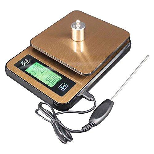 KOBWA Digitale Küchenwaage, 0,1g-2kg USB Elektronische Kaffeewaage Lebensmittelwaage mit Timer LCD Display Thermometer Tara Multifunktions für Zuhause -