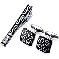 Peora Black Silver Decorative Combo Tie Pin and Cufflinks Set for Men Boys Wedding Business Gift