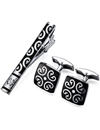 Peora Black Silver Decorative Combo Set of Tie Pin and Cufflinks for Men Boys Business Gift