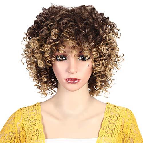 IILOOK Hochtemperaturseidenatmungsaktives Rosennetz langes lockiges Haar Kopfperücke Hochtemperaturseidenatmungsaktives Rosennetz langes Haar Explosionskopfperücke charmant ()