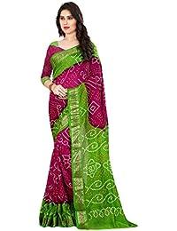 Saree(Roop Craft Women's Latest Designer Printed Bandhani With Matching Bandhani Blouse In Pink & Green Color)...