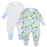 TupTam Baby Jungen Schlafstrampler Gemustert 2er Pack, Farbe: Farbenmix 2, Größe: 74/80