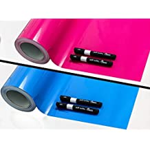Tafelfolie + 2 Kreidemarker von Reemara, Ideal für jedes Kinderzimmer, Selbstklebend, Pink und Blau (Pink)