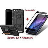 THE SHOPPING HUB Combo Pack Of Hybrid Armor Detachable Stand-Up Dual Layer Protective Shell Hard Back Cover Case For Xiaomi Redmi 5A / Redmi5A + 2.5D Curved 3D Edge To Edge Full Screen Tempered Glass Mobile Screen Protector (Black)