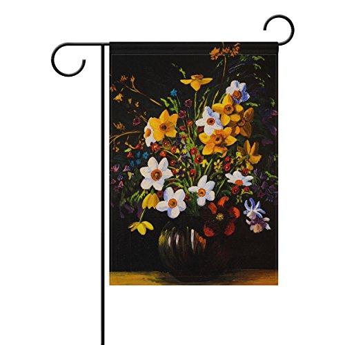 vinlin Garten Flagge Spring Flowers Ölgemälde langlebiges Polyester Welcome Flagge Home Flagge-30,5x 45,7cm 71,1x 101,6cm, Polyester, 28x40(in) -