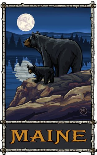 Northwest Art Mall Maine Black Bears im Mondlicht, Wandschmuck von Paul A Lanquist, 28 x 43 cm