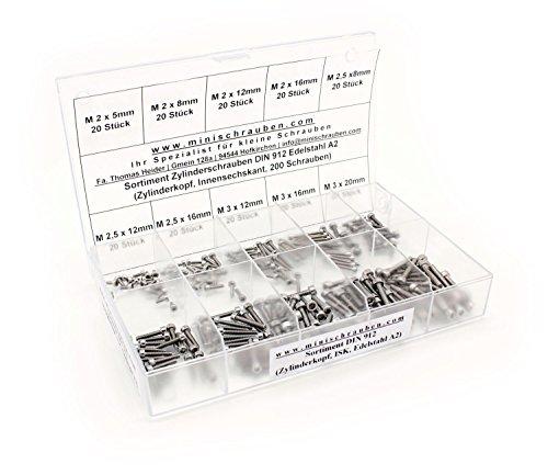 Sortimentskasten mit 200 Stück Innensechskantschrauben nach DIN 912 (M2, M2,5 und M3) aus Edelstahl A2, Innensechskant, Zylinderkopf. Minischrauben Sortiment inkl. beschrifteter Box