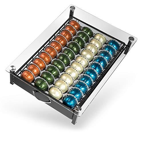 Nobilis Culina Kapselhalter, Edle Kapselschublade kompatibel mit Vertuo, Dolce Gusto und Tassimo, Kapselspender gefertigt aus Kristallglas und hochwertigem Metall