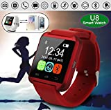 Maya Bluetooth U8 Watch SmartWatch for iPhone& All Android-Red
