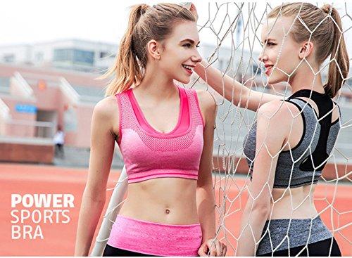 Selighting Sport BH Yoga BH starker Halt mit Polster ohne Bügel für Fitness Training Yoga Grau
