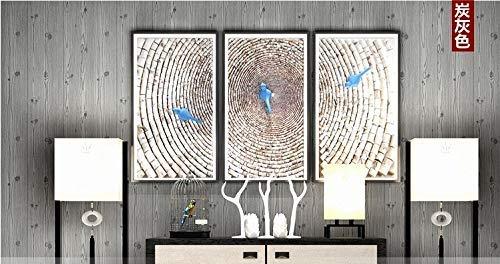Holzkohle Grau Streifen (YLCJ Wandbespannung im chinesischen Stil antikes Holzmaserung Print Vliestapete Tapeten Wandbild Super Fresko für Wohnzimmer Schlafzimmer Wohnkultur Holzkohle grau)