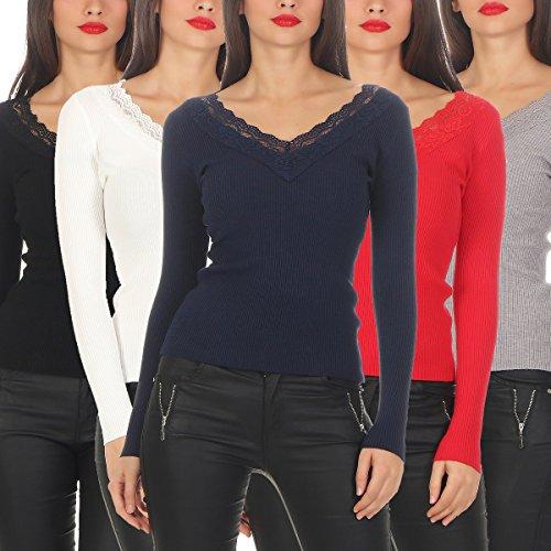 5301 Fashion4Young Damen Feinstrick-Pullover Pulli V-Ausschnitt Pullover Strickpullover Spitze Schwarz