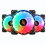 Noua Boreas DE53 PWM 3 Ventole 18 LED RGB Rainbow Addressable 5V 3pin Cooling Fan da 120 mm Silenziosa 6-Pin 1200rpm Controllabile da Scheda Madre 5V 3Pin ADD RGB