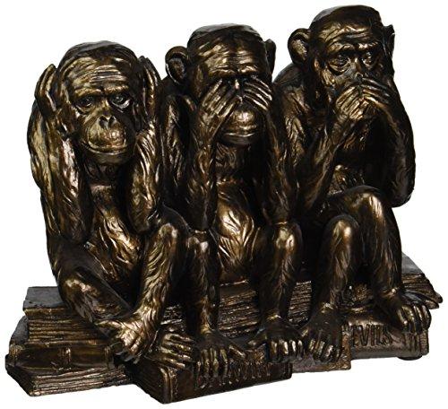 Design Toscano Statue singes Ne rien entendre, ne rien voir, ne rien dire, imitation bronze