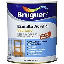 Bruguer 502 Esmalte Acrylic satinado para interior y exterior, blanco permanente, 750 ml