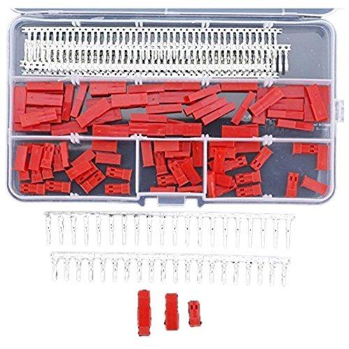 DollaTek 420 STÜCKE (70 Sätze) JST SYP 2-Pin Rot Weiblich Steckergehäuse Kit, Männlich-weibliche Crimp Terminal Stecker Set -