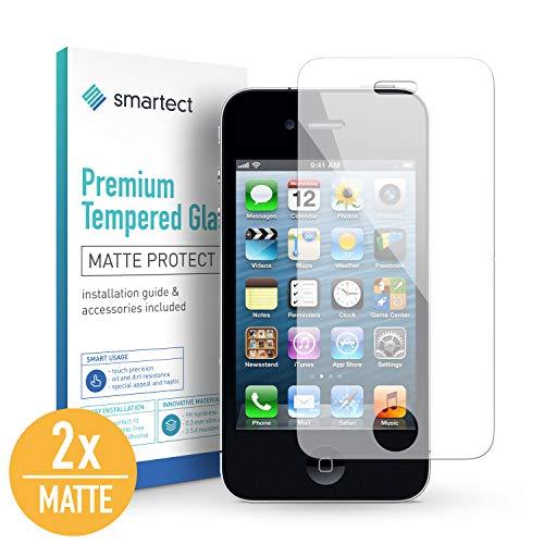 smartect Mattes Panzerglas für iPhone 4 / 4s [2X MATT] - Displayschutz mit 9H Härte - Blasenfreie Schutzfolie - Anti Fingerprint Panzerglasfolie