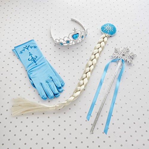 Frozen Regno Di Ghiaccio - Elsa la regina delle nevi Principessa Corona Diadema Fiocco di neve Bacchetta Treccine e Blu Guanti Set