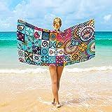 Jacklee Mikrofaser-Strandtücher Vintage Marble Mexican Ceramic Tile Medallion Großes Reise-Handtuch - Ultra saugstark, Schnell trocknend Gym Handtuch für Männer, Frauen And Kinder