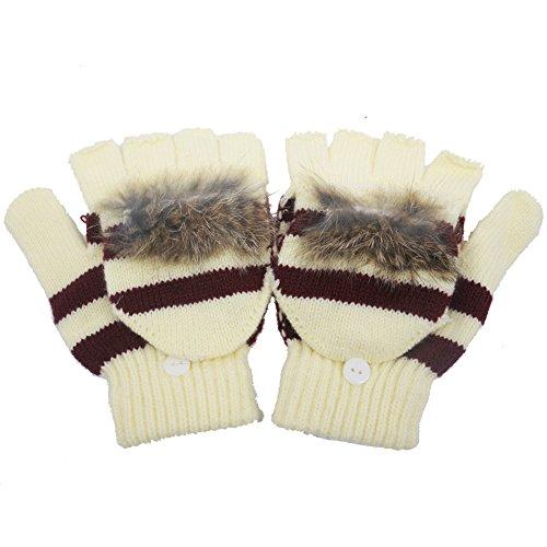 Artone Streifen Pelz Warm Stricken Halbfinger Thermo Isolierung Radfahren Winter Handschuhe mit F?ustlinge Klappe Beige (Klappe Beige)