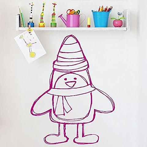 Penguin With Hat Dessin animé pour enfants Noël Stickers muraux Saisonnier Décalcomanie disponible en 5 dimensions et 25 couleurs X-Grand