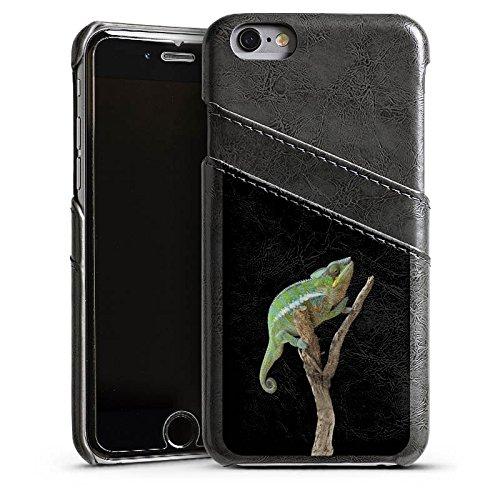 Apple iPhone 5s Housse Étui Protection Coque Caméléon Saurien Branche Étui en cuir gris