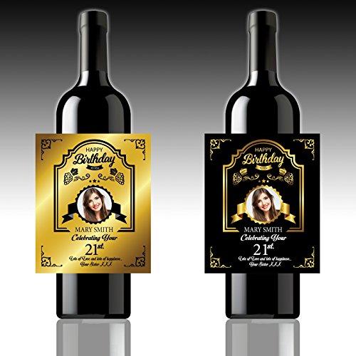 2x Personalisierter Flasche-Etiketten, Foto   Text   Geburtstag Etiketten 1 Black, 1 Gold Label