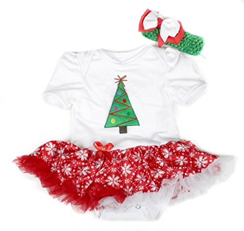 Christmas Dress Xmas Tree White Bodysuit Red Snowflake Tutu Baby Set Nb-18m (12-18 Monat) (White Xmas Tree)