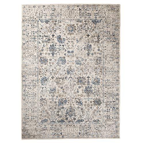 Traditionelle Orientalische Teppich (Tapiso Tibet Teppich Klassisch Kurzflor Traditionell Orientalisch Floral Blumen Vintage Muster Creme Blau Wohnzimmer ÖKOTEX 200 x 300 cm)