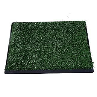 PawHut Indoor Pet Dog Toilet Mat Potty Tray Training Grass Restroom with Tray and Loo Pad 22