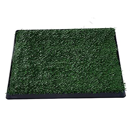 PawHut Indoor Pet Dog Toilet Mat Potty Tray Training Grass Restroom with Tray and Loo Pad 1