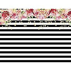 Daniu Fleurs Fond Studio Props Noir Blanc Rayures Papier Peint Vinyle Photographie Décors 7x5ft dn011
