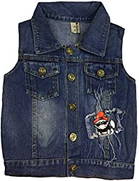 Miss U Boys Sleeveless High Quality Soft Denim Jacket with Front Button
