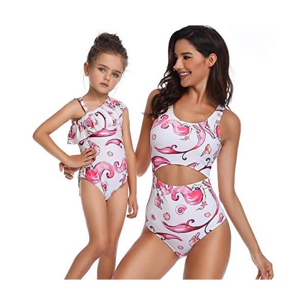 Costumi da Mare Madre e Figlia Moda Bikini Floreale Due Pezzi Boho Hippie Chic Tankini con Volant Uguale Abbigliamento… 1 spesavip