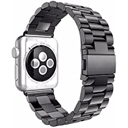 Luxury with Adapters for Apple Watch 42 mm Stainless Steel Black Strap