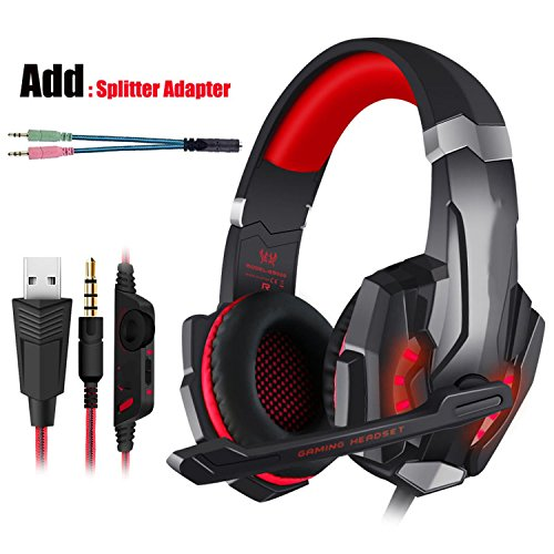 Gaming Headset PS4 Kopfhörer Gaming Kopfhörer mit Mikrofon Kopfhörer für PC, Rot und Kabel