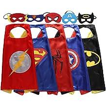 zaleny superhéroe Dress Up Disfraces 5satén capa con fieltro máscaras