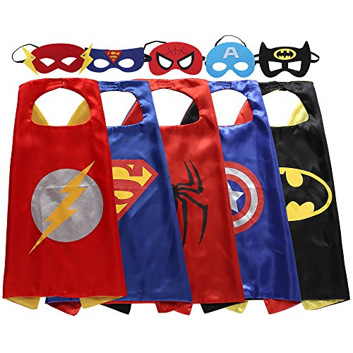 Zaleny Superhelden-Kostüme: 5 Satin-Capes mit Filzmasken (Iron Man-kleid)
