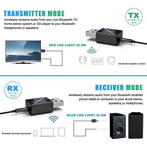 Adaptador Bluetooth 5.0 USB Dongle, 2 en 1 Bluetooth Transmisor y Receptor con Audio Inalámbrico 3.5MM Cable,  para TV y PC,  Audio del Automóvil